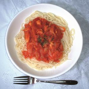鶏肉とトマトのあっさりパスタ